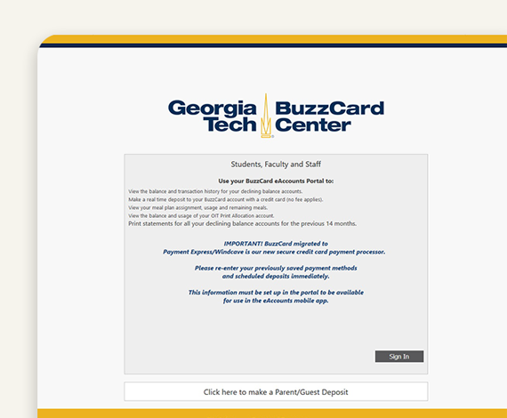 Step 1 - Log In - BuzzCard eAccounts Web Portal Page