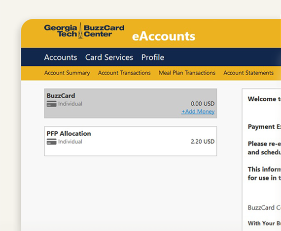Step 2 - Add Money - BuzzCard eAccounts Web Portal Page