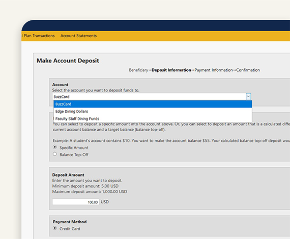 Step 3 - Deposit Funds - BuzzCard eAccounts Web Portal Page